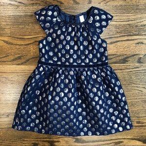 Cherokee Navy & Silver Metallic Dots Dress